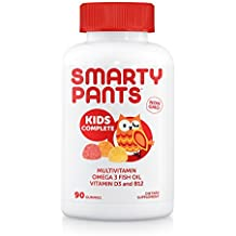 SmartyPants Kids Complete Daily Gummy Vitamins: Gluten Free, Multivitamin & Omega 3 Fish Oil (DHA/EPA Fatty Acids), Iodine Supplement, Vitamin D3, Methyl B12, Non-GMO, 90 Count (22.5 Day Supply)
