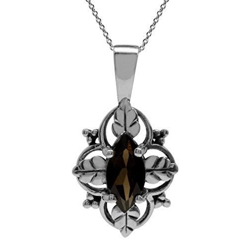 - Silvershake Natural Smoky Quartz 925 Sterling Silver Leaf Pendant w/18 Inch Chain Necklace