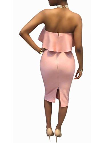 Fit Da Ragazza Eleganti Pink Slim Tubino Vestiti Smanicato Moda Estivi Di Abito Abiti Spalla Mid Vestito Donna Lunghezza Spalline Parola Casual Schienale Stlie Grazioso Senza 4q11twYHB