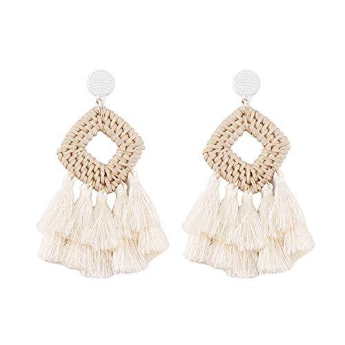Bohemia Tassel Earrings Statement Handmade Dangle Ethnic Fringe Earrings Bamboo Weaving Geometric Square Sector Gifts for Women Girls