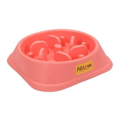Aolove Slow Feeder Bowl Healthy Food Fun Anti-Choke Pet Bowls for Dog (One Size, Pink) by Aolove