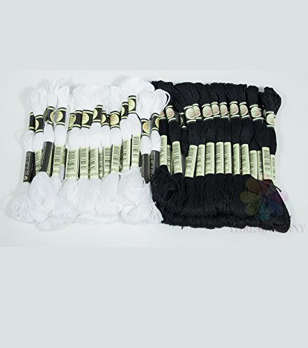 ThreadNanny Black and White Hand Embroidery Cross Stitch Threads Floss/skeins 24 of each color