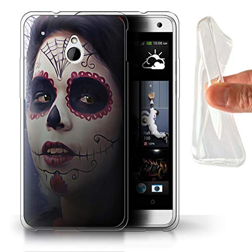 STUFF4 Gel TPU Phone Case/Cover for HTC One/1 Mini/Halloween Makeup Design/Day of The Dead Festival Collection (Htc One Mini Makeup Case)