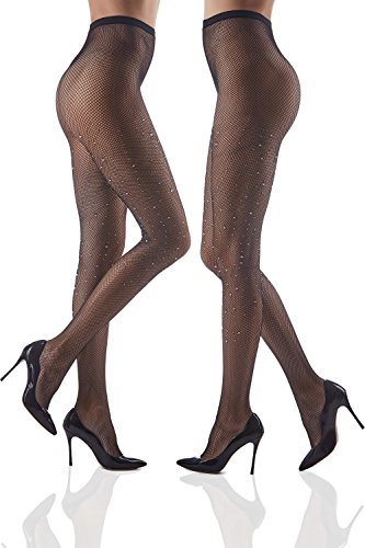 Costumes Dancer Samba (Set of 2 Crystallized Tights Sparkly Pantyhose With Rhinestones Shimmery Fishnets (Small/Medium, Black, Small)