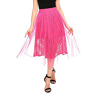 Discount Zeagoo Women Elastic Waist Scallop Floral Lace Mesh Layered Tulle Midi Skirt