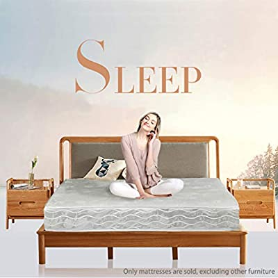 Spring Pocketed Mattress Innerspring Coils Foam Mattress 8 Inch Bedroom Firm Mattresses, No Assembly Required,Medium Firmness Queen