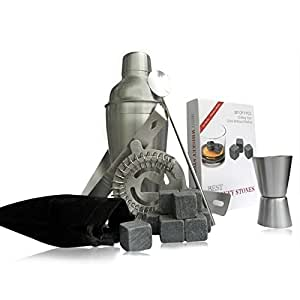 Cuisine Prefere Stainless Steel Barware Set with 5 Tools Plus 9 Whiskey Stones & Storage Bag - Includes 18.6oz Cocktail Shaker, Stirrer, Strainer, Double Jigger & Tongs Gift Set