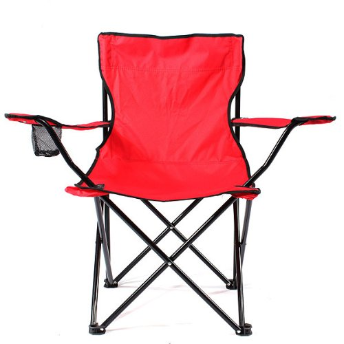 Folding Beach Picnic Outdoor Camping Fishing Chair Seat w/ Carry Bag Cupholder / Red