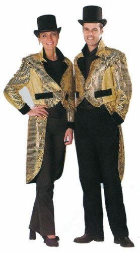 Gold Sequin Top Hat & Tails Fancy Dress Female Size US 14-16
