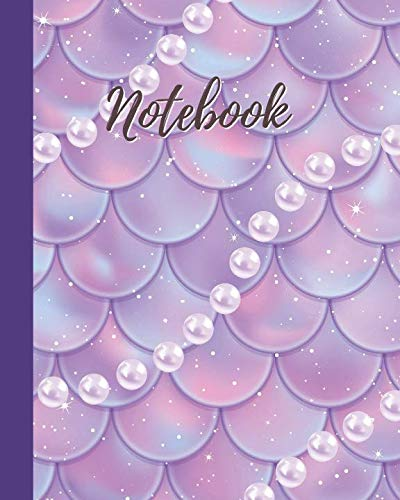Notebook: Pink&Purple  Mermaid Scale with Pearl Pattern - College Lined Notebook & Journal - Cute Gift for Girls Teens Women (8