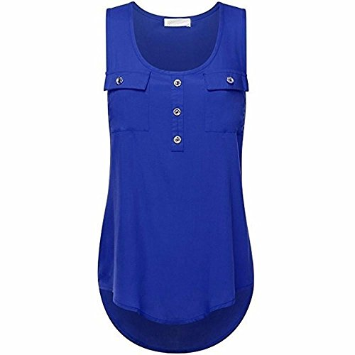 Tops Femmes, Yanhoo T-shirt Dcontract Pour Femmes Vtements D't Dames O-cou Sans Manches Blouse Gilet Sexy T-shirt Dbardeur T Shirt Filles Taille Plus (L4, Noir) Bleu