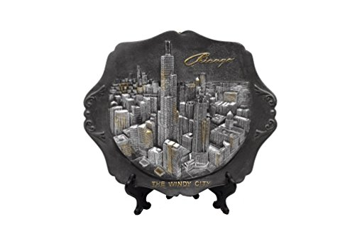 Chicago Souvenir 3D Pewter Collectors Plate with Elevated Cityscape(6.5 in x 7.75 - Building Chicago Hancock Illinois