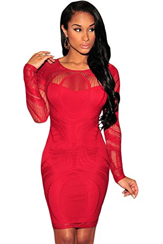 Femmes Dentelle Rouge Illusion Robe bodycon à manches longues Club Wear Soirée Taille S UK 8–10EU 36–38