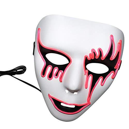 LiPing LED Halloween Sound Reactive Full Face LED Light Up Mask Dance Rave for Men Women Party Christmas Halloween Costume Mask (Pink) -