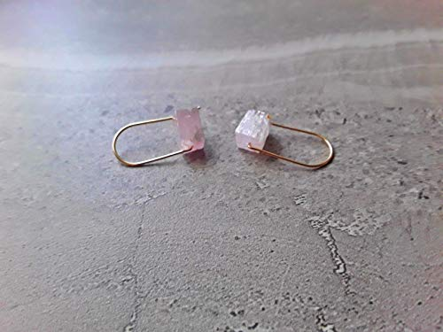Pink Kunzite Modern Hoop Earrings 14K Gold Filled
