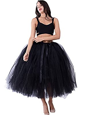 FOLOBE Women Vintage Puffy Tutu Skirts Tulle Self Tie Free Waist Petticoat 31.5in (25 Colors)