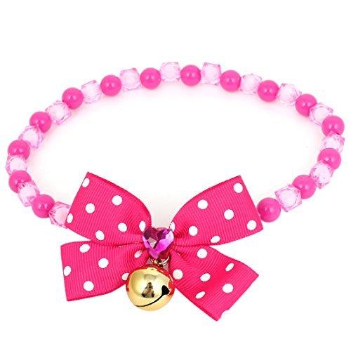 DealMux Bowtie Accent Pet Faceted Round Beads Collar Necklace L Fuchsia