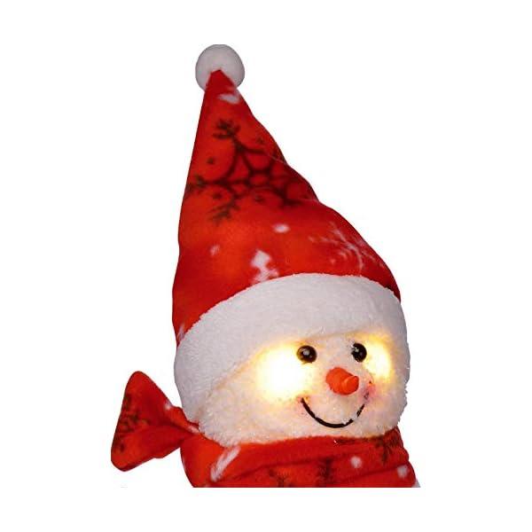 Bambelaa! Pupazzo di neve con luce LED, rosso, decorazione natalizia illuminato, 42 cm, funzionamento a batteria 3 spesavip