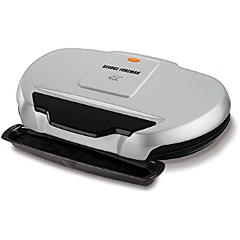 George Foreman 9 Serving Nonstick Classic Plate Grill And Panini, 144-Square-Inch, Silver GR144