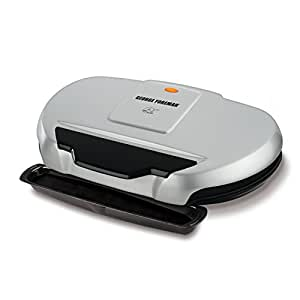 George Foreman 9-Serving Classic Plate Electric Grill and Panini Press, Silver, GR144