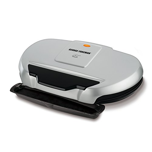 George Foreman 9-Serving Classic Plate Electric Grill and Panini Press, Silver, GR144 (Best George Foreman Indoor Outdoor Grill)