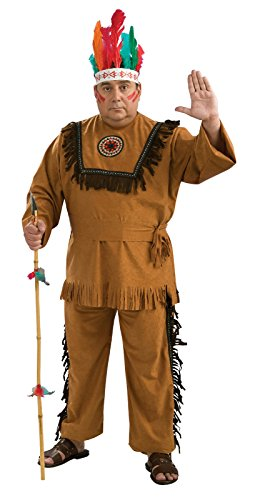 [Rubies Costume Co 17696R Native American Indian Warrior Adult Plus Costume] (Mens Indian Costumes)