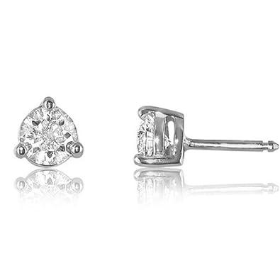 d1fe512c6f21f Boucles d oreilles puces or blanc sertie 3 griffes de 2 diamants - 0 ...