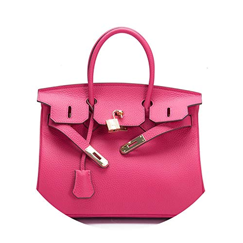 women luxury brand genuine leather lock handbags female messenger bags,Rose,35cm