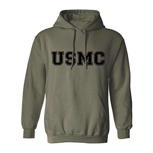 USMC Athletic Marines Hooded Sweatshirt in Military Green