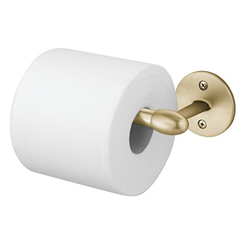 mDesign Wall Mount Toilet Tissue Paper Roll Holder and Dispenser for Bathroom Storage – Wall Mount, Holds and Dispenses One Roll, Mounting Hardware Included – Strong and Durable Metal in Soft Brass