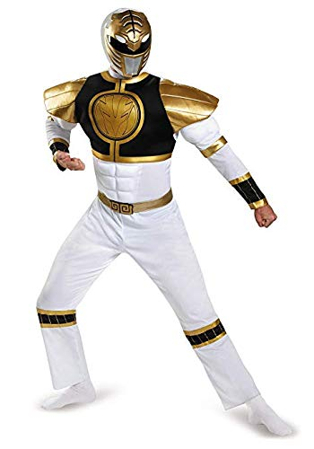 Disguise Power Ranger Adult White Ranger Classic Muscle Costume 82847 (Adult X-Large -