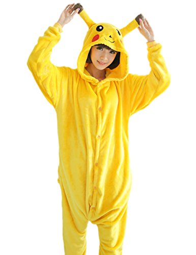 OXKING Unisex Adult Pikachu Onesies Animal Cosplay Costume Halloween Xmas Pajamas M