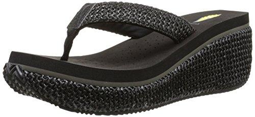Volatile Women's Island Wedge Sandal, Black, 10 B US