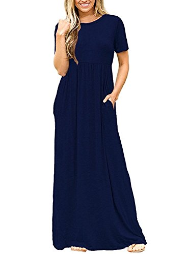 DEARCASE Women\'s Short Sleeve Casual Loose Long Maxi Dresses