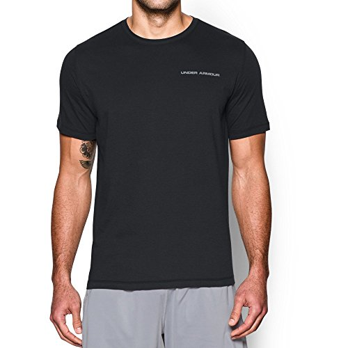 Steel Stretch Shirt (Under Armour Men's Charged Cotton T-Shirt, Black/Steel, Medium)