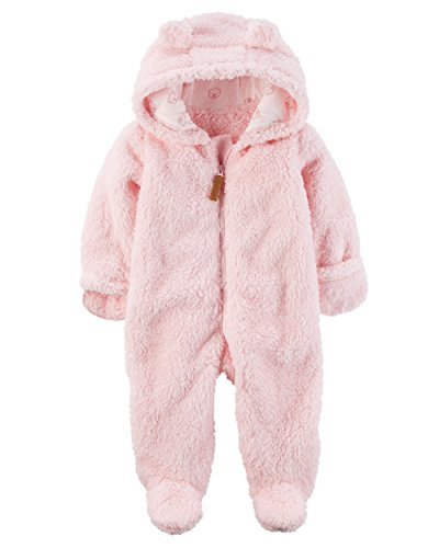 Carter's Baby Girls' Newborn-9M Hooded Sherpa Pram Sleep & Play 3 Months (Bunting Sherpa)