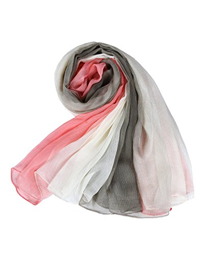 Crinkle Stretch Silk Scarf, Faurn Women Soft Light Weight Oversized Silk Scarf Gradient Colors (Pink Olive Green) (Scarf Silk Stretch)