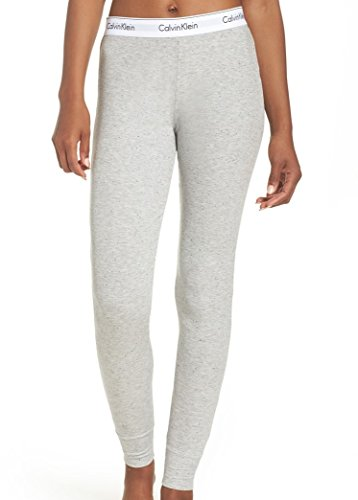 Cotton Rib Leggings - Calvin Klein Women's Modern Cotton Legging, Graphic Rib/Grey Heather, Large