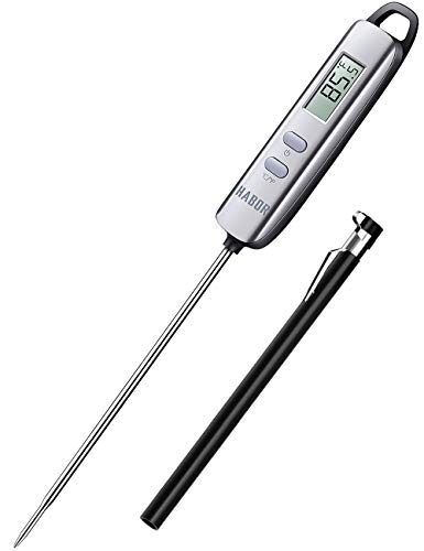 Habor Meat Thermometer, FDA Approval Instant Read Thermometer Digital Cooking Sensor, Candy Thermometer with 4.7 Inches Long Probe for Kitchen BBQ Grill Smoker Meat Oil Milk Yogurt Temperature