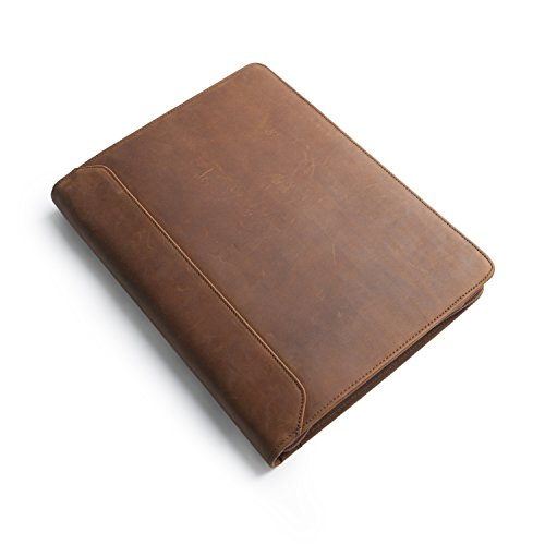Business Multi-function folder with Broadside Zipper,Brown Crazy-Horse Full-grain Leather PadFolio for iPad Pro 12.9 by Hifriend