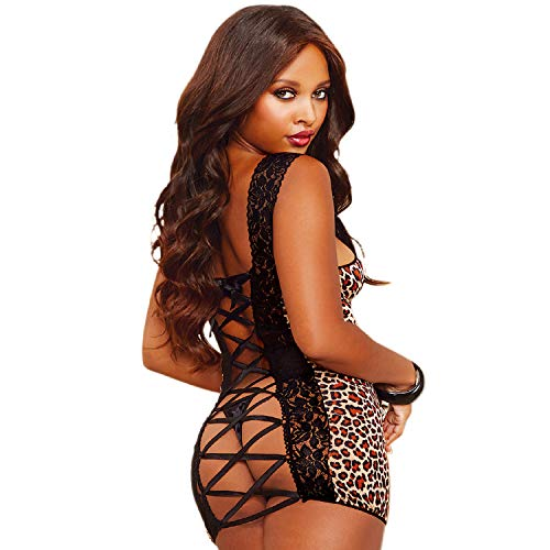 Dreamgirl Women's Leopard Print Stretch Mesh Chemise with Strappy Back, Leopard, One Size ()