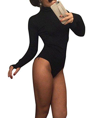 Moxeay Sexy Women Long Sleeve Bodysuit Stretch Body Tops T shirt Leotard Jumpsuit (Medium, Black)