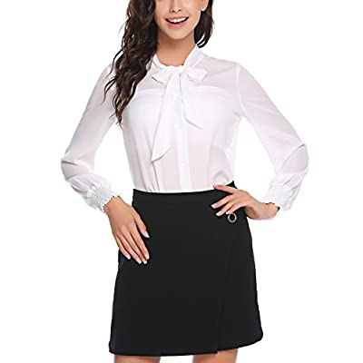 Nice Zeagoo Women's Bow Tie Neck Long Sleeve Button Down Shirt Chiffon Blouses Tops supplier