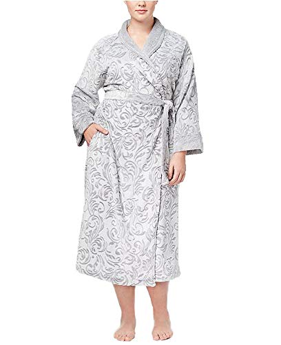 - Charter Club Plus Size Long Textured Cotton Robe, Grey Scroll, 3X
