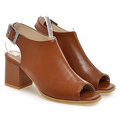 COOLCEPT Damen Fuhling Blockabsatz Sandalen Schuhe Brown