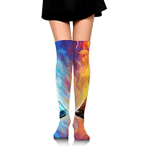 Womens Fire And Ice Wolf Sexy Long Socks Over The Knee High Boot Socks Cosplay Socks