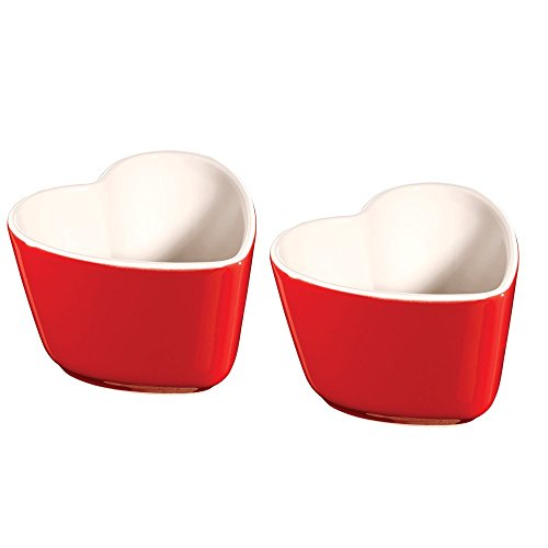 Staub Ceramic 2-pc Heart Shaped Ramekin Set - Cherry - Heart Ramekin