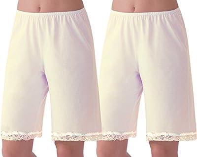 Under Moments Women's Cotton 20 Inch Pettipants Pant Slip, Lace Trim Pack of 2