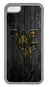 iPhone 5C Case- Crystal Clear Transparent Hard Case for iPhone 5C with Design Wood West Virginia University Camo Logo