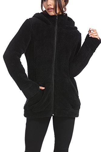 Women's 22 Black Long Open Coat Hooded Thick Warm 8 Fur Vieliring Winter Cardigan Jacket Sleeve Front Faux Parka Outwear T1AwdS